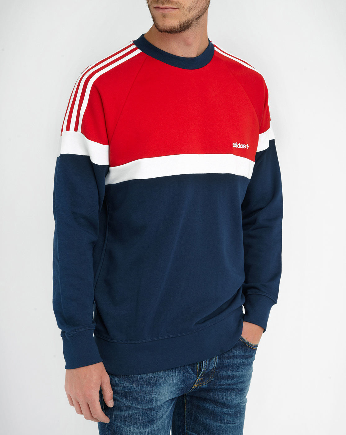adidas blue red white tricolour raglan sweatshirt in blue. Black Bedroom Furniture Sets. Home Design Ideas