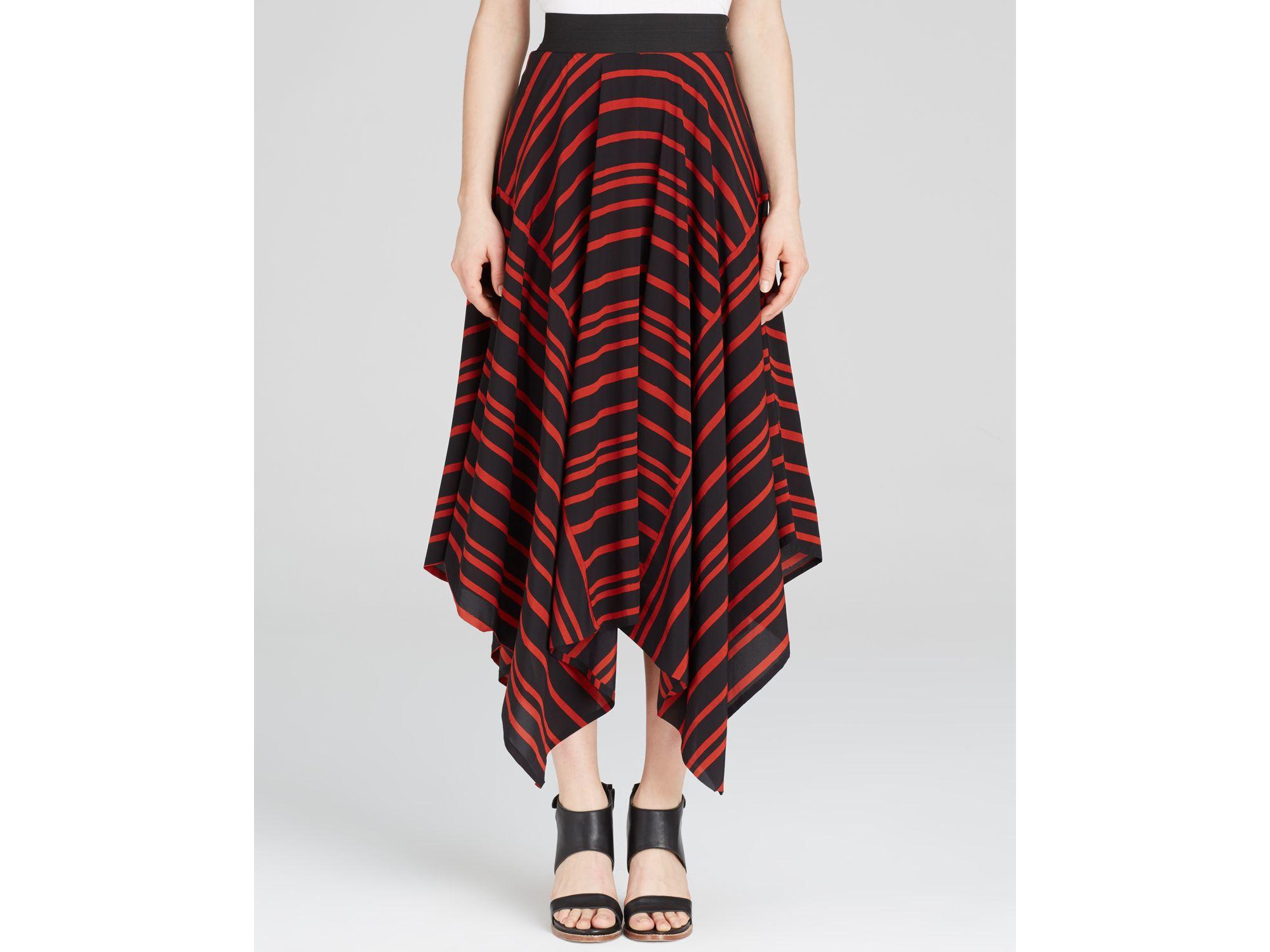 8863e1c08d6 Lyst - DKNY Striped Handkerchief Hem Midi Skirt in Black