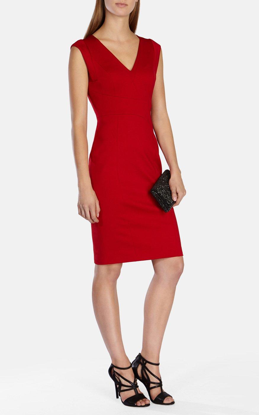 Karen millen v neck pencil dress in red lyst