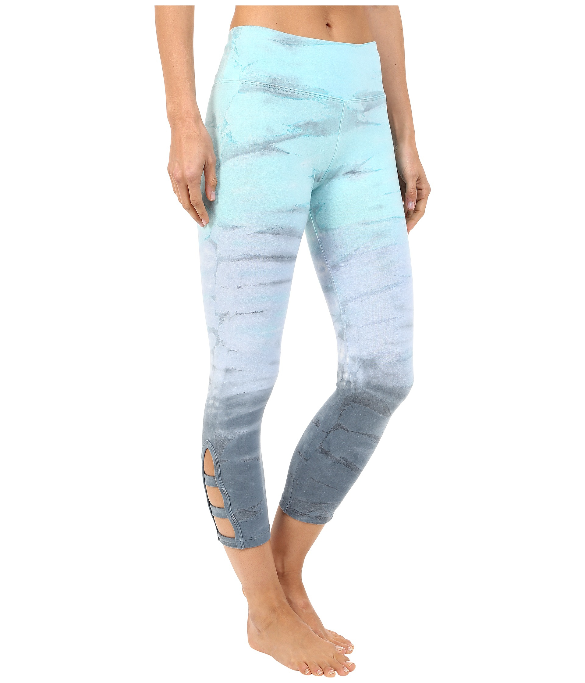 64f51f12bb57d2 Hard Tail Flat Waist Cage Capri Leggings in Blue - Lyst