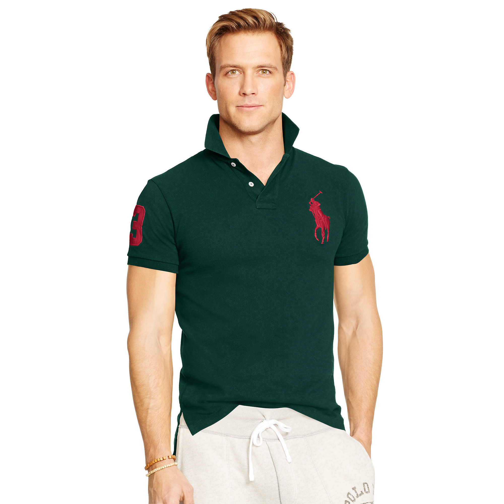lyst polo ralph lauren custom fit big pony polo in green for men. Black Bedroom Furniture Sets. Home Design Ideas