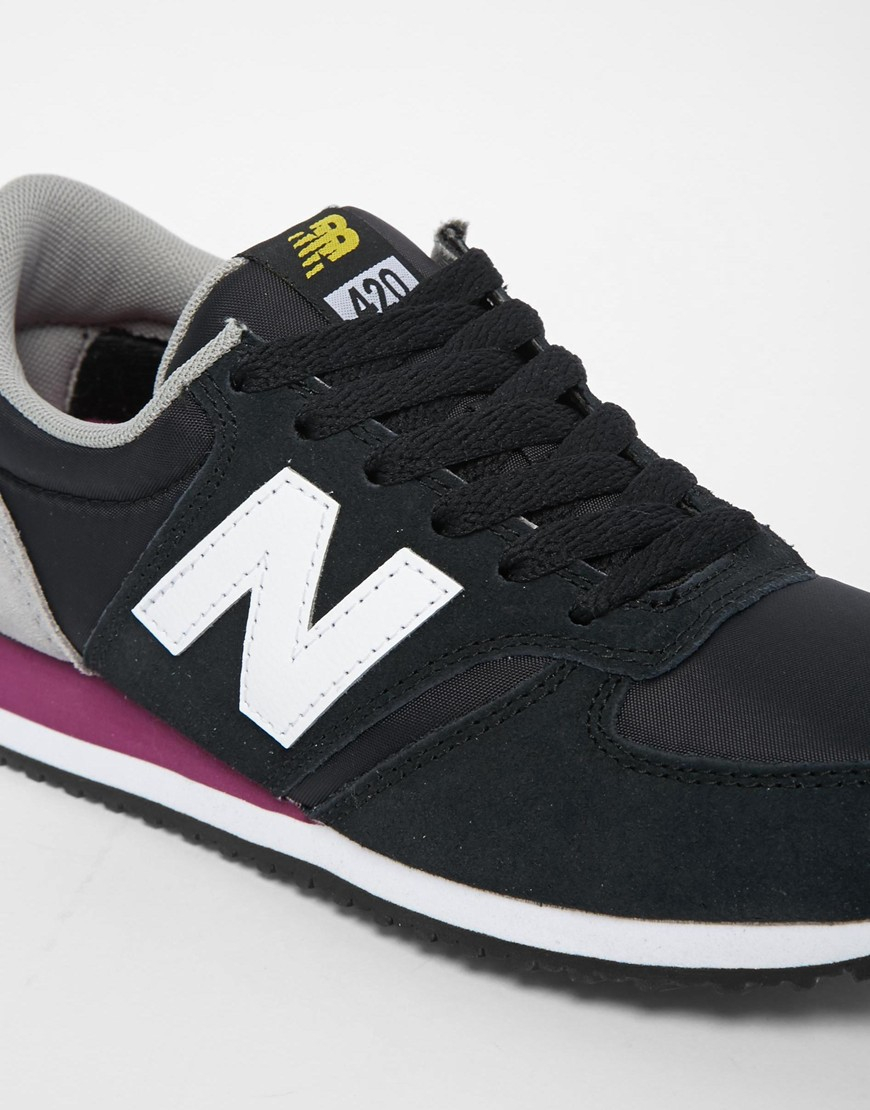 New Balance 420 Suede Mix Black & Yellow Trainers