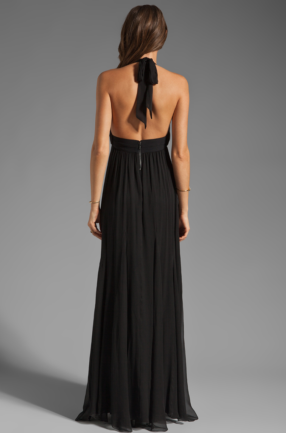 Lyst Alice Olivia Alberta Long Halter Dress In Black