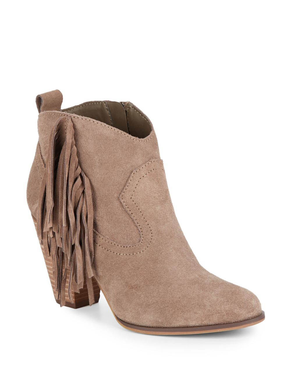 steve madden cian fringed suede ankle boots in brown