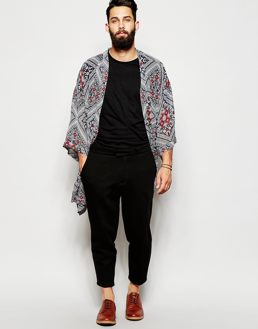Asos Kimono In Bandana Print In Black For Men