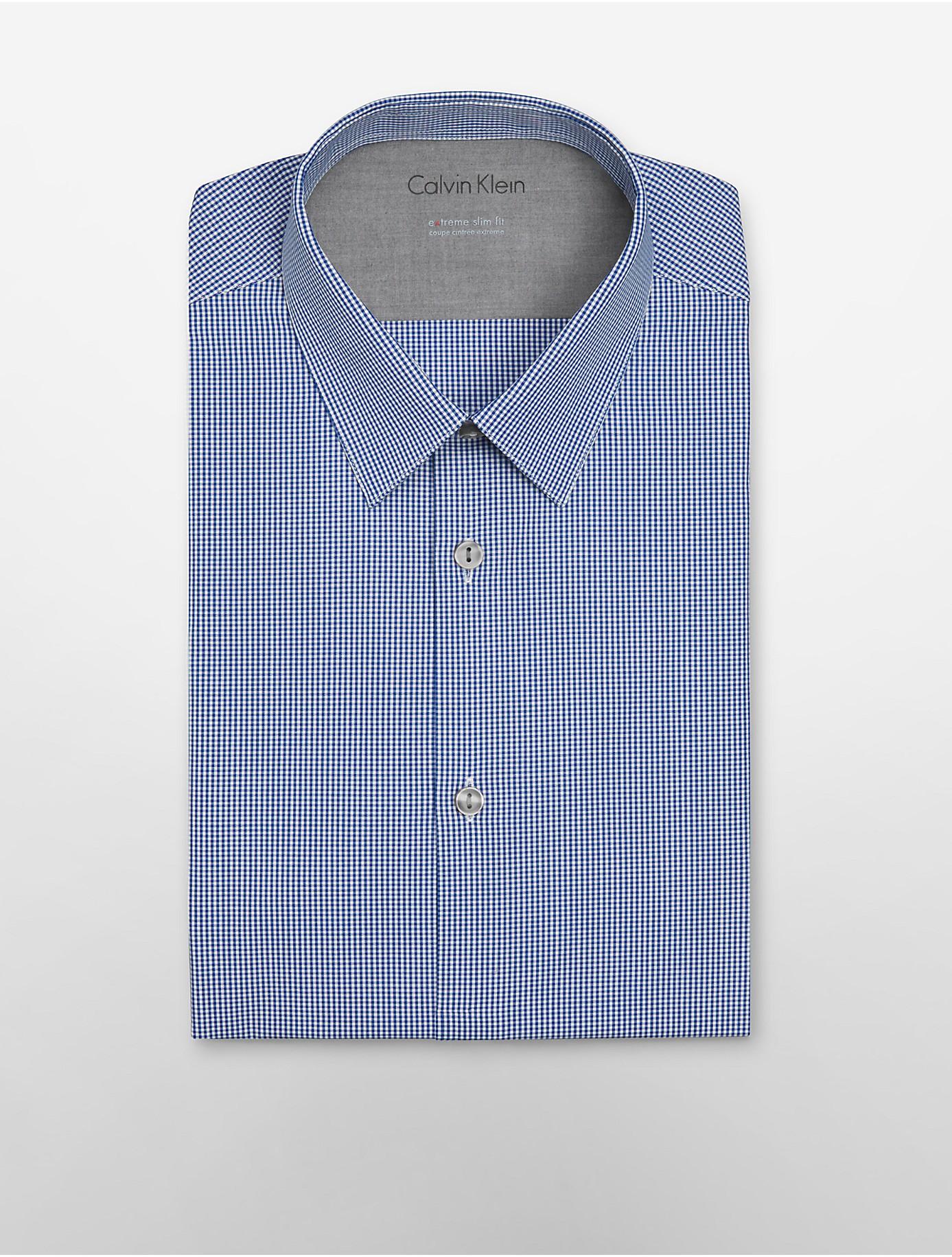 Calvin klein white label x fit ultra slim fit mini check for Calvin klein x fit dress shirt