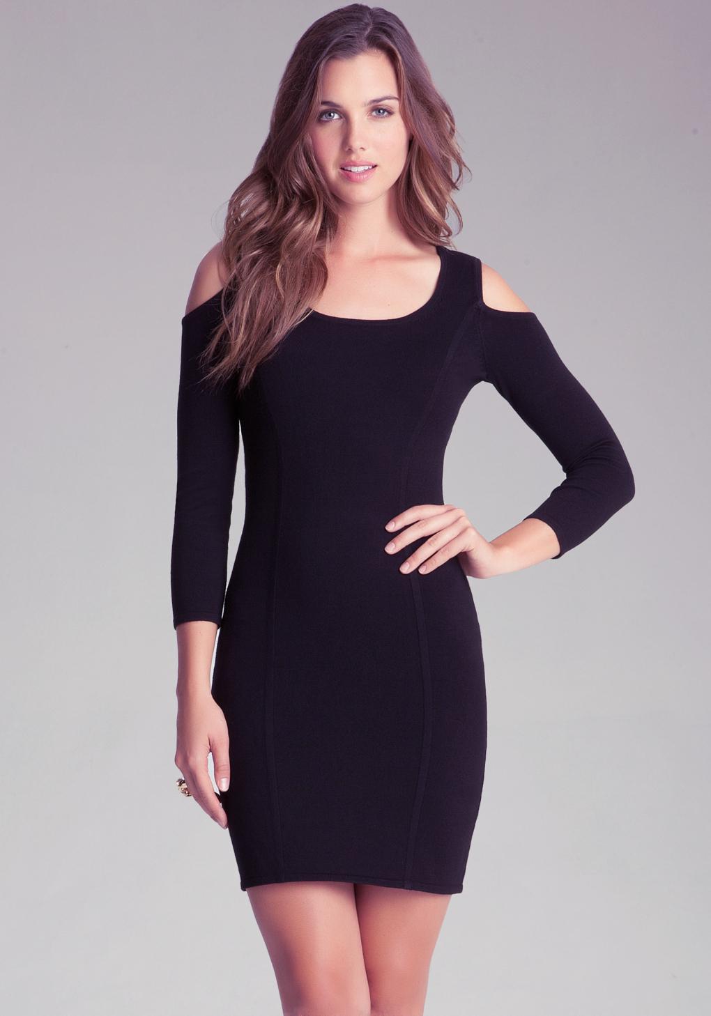 Lyst Bebe Cold Shoulder Dress In Black