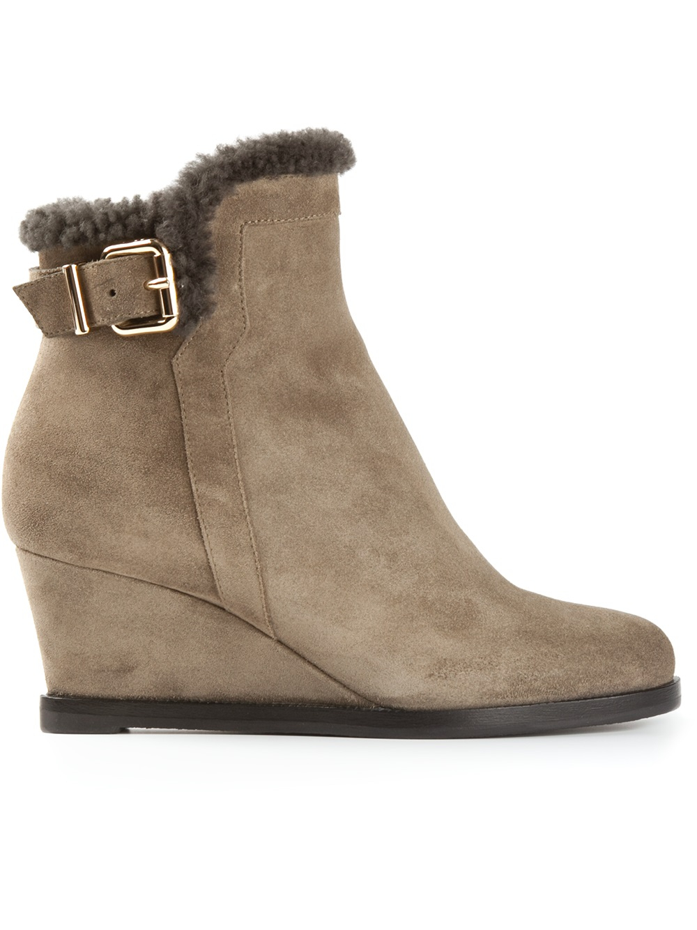 fendi wedge ankle boots in brown lyst