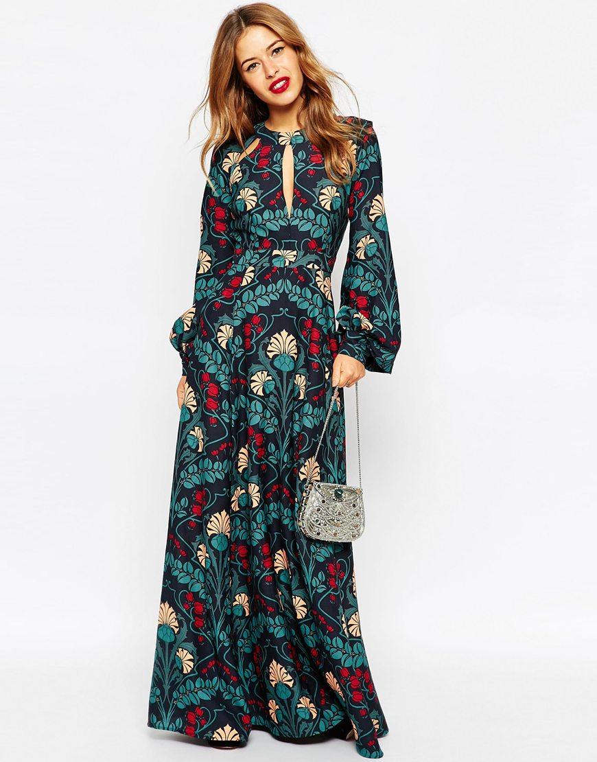 Asos Floral Kaftan Keyhole Maxi Dress | Lyst
