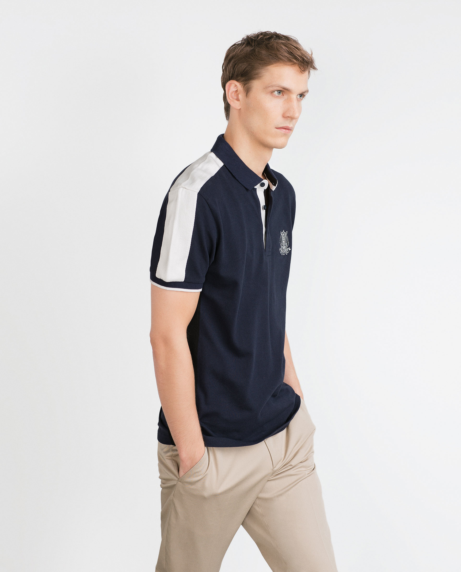 Zara embroidered two tone polo shirt in blue for men navy for Zara mens shirts sale