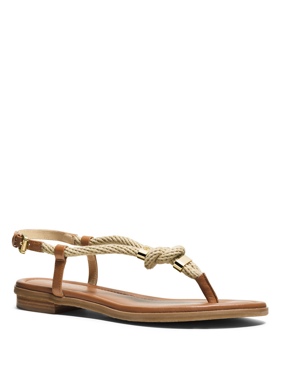 Michael Michael Kors Holly Rope Trim Leather Sandals Lyst