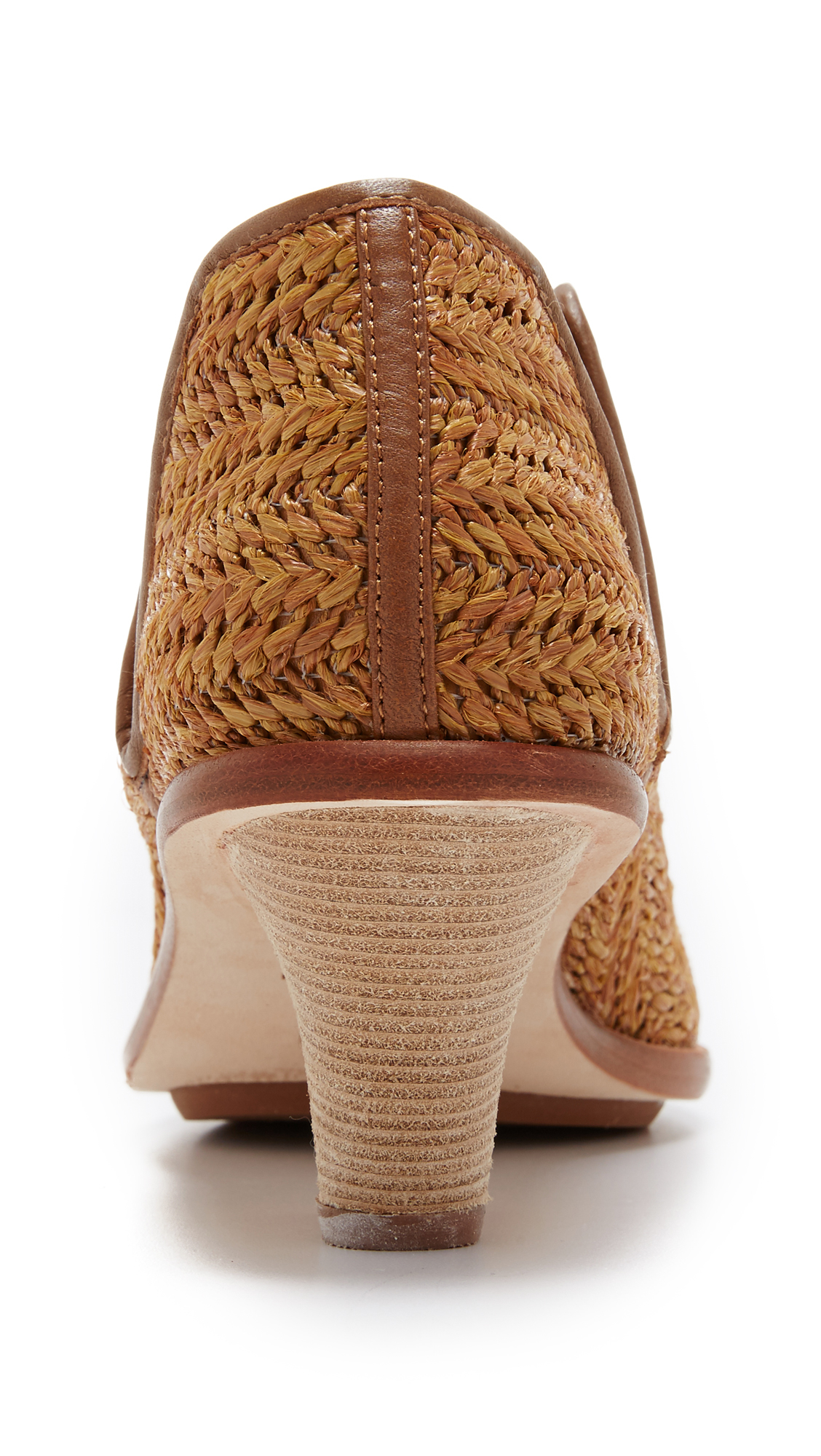 Matt Bernson Leather Marlow Woven Raffia Bootie Chestnut in Brown