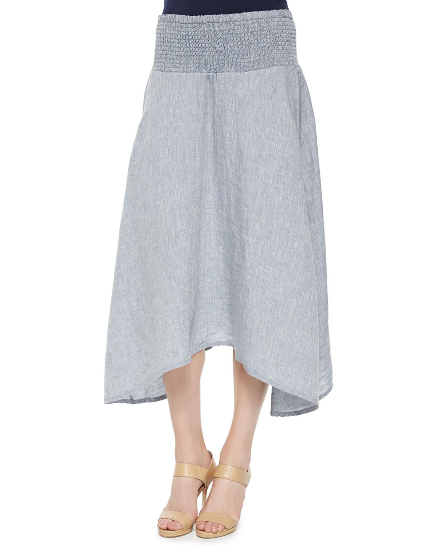 eileen fisher linen maxi skirt in blue lyst