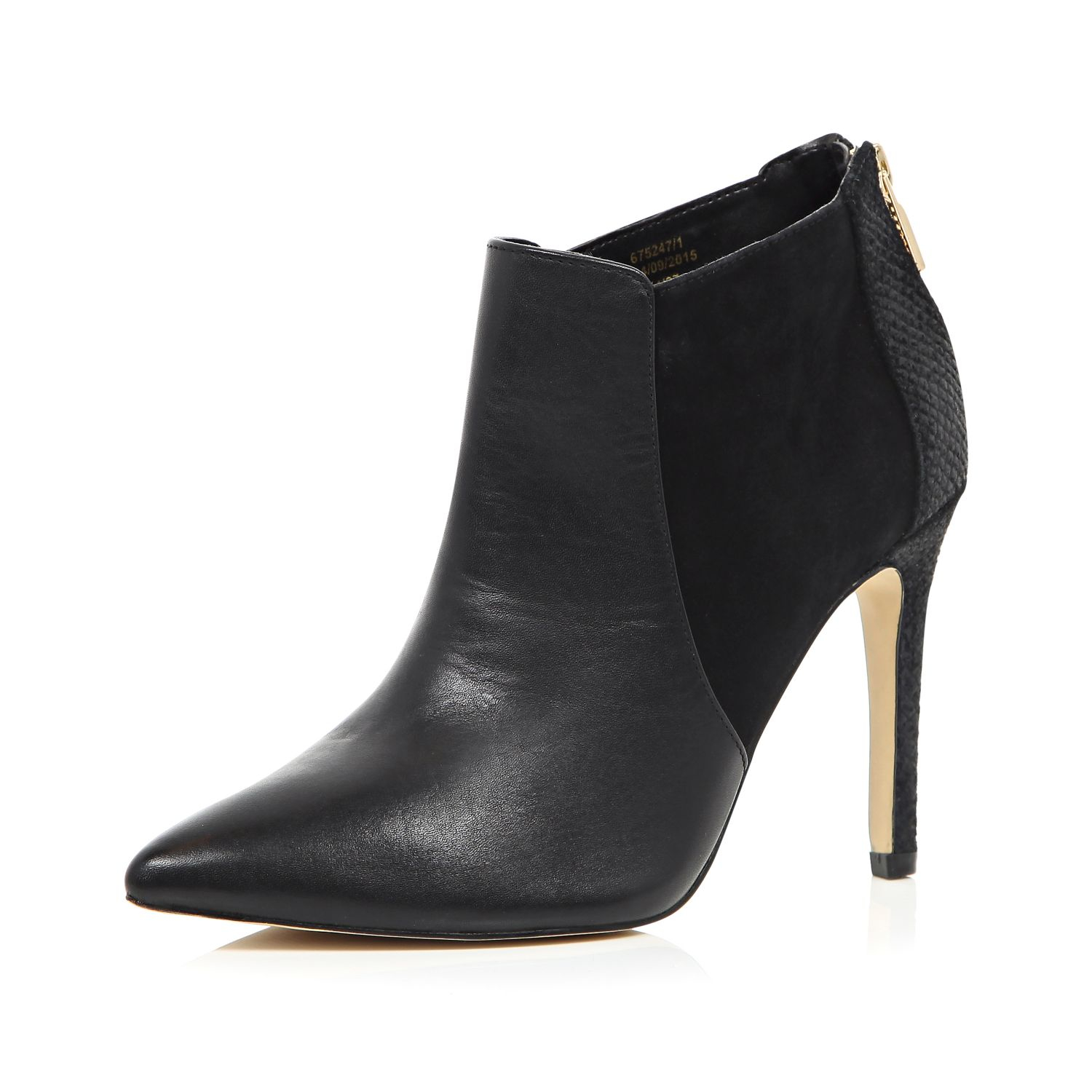 0d4f2e8724b6f Lyst - River Island Black Leather Pointed Heeled Ankle Boots in Black