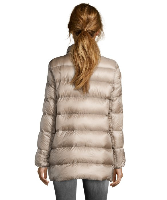 Moncler Beige and Gold Black Nylon Box Quilted Torcy Down Coat in