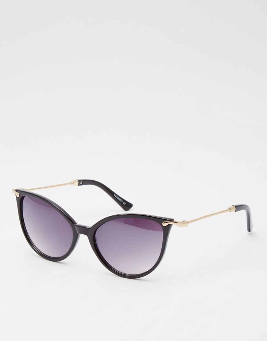 3f4544a967 ASOS Cat Eye Sunglasses In Fine Frame And Metal Arms in Black - Lyst