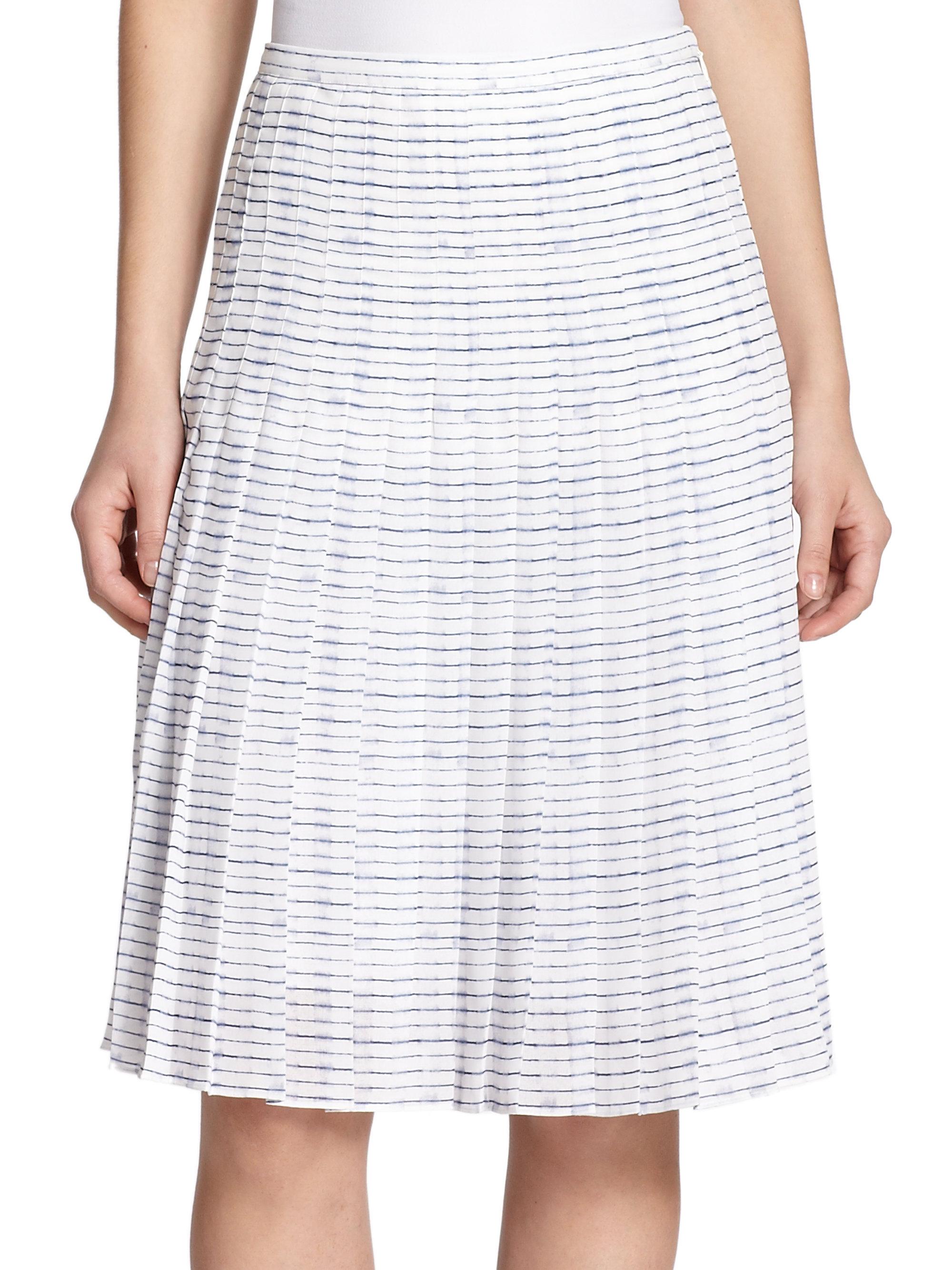 vince pleated stripe skirt in white lyst