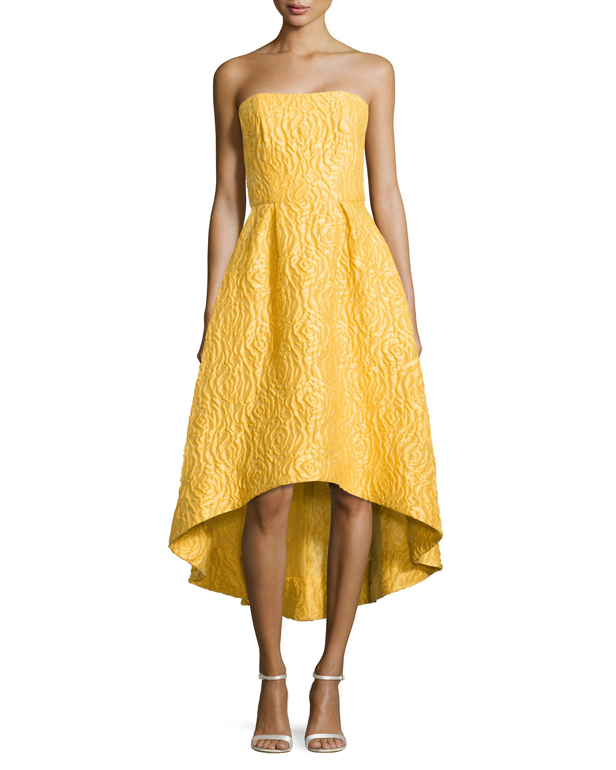 7c425f173606 ML Monique Lhuillier Strapless High-low Cocktail Dress in Yellow - Lyst