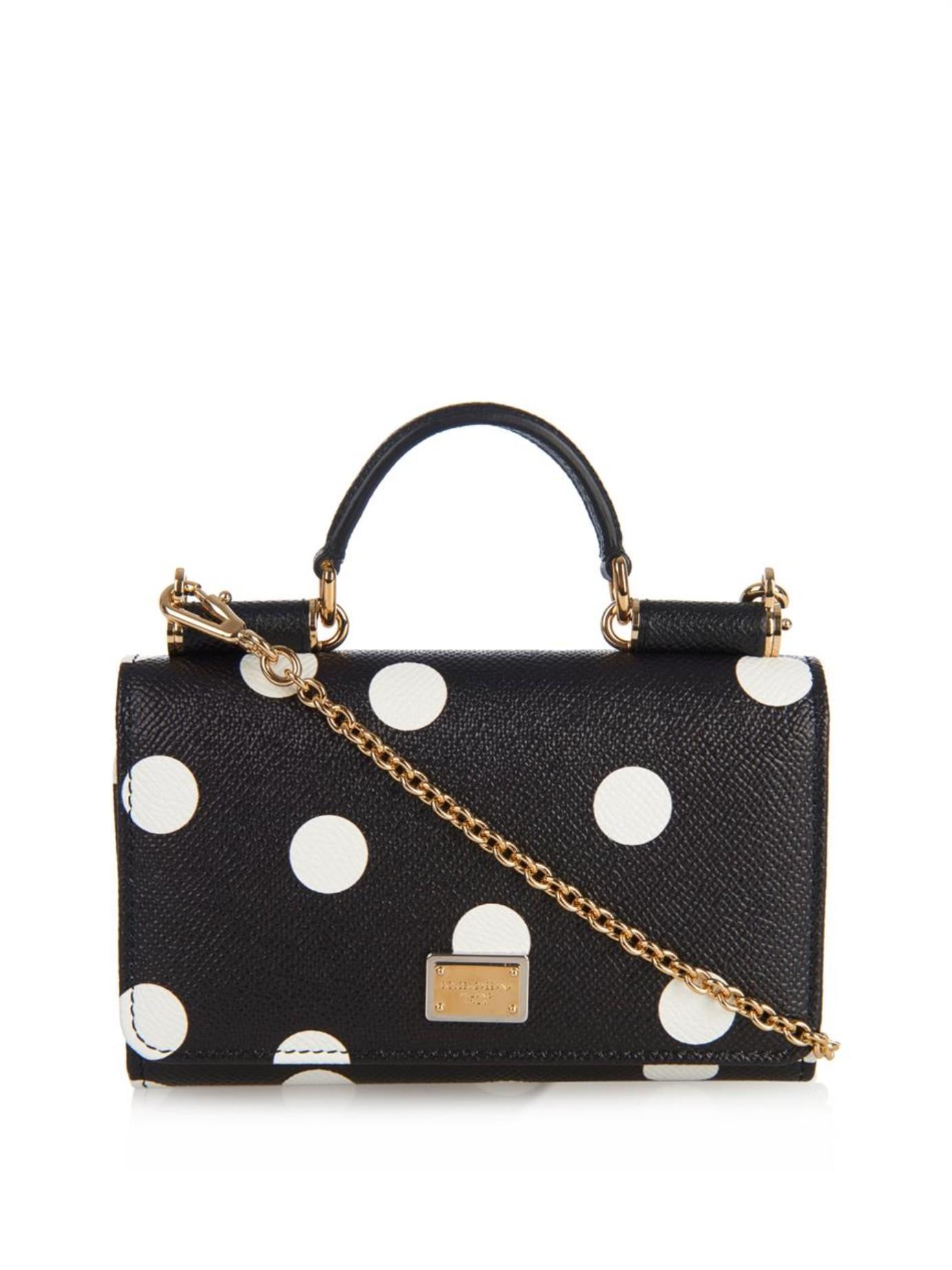 a27a8dd3cb08 Lyst - Dolce   Gabbana Disco Polka-Dot Leather Cross-Body Bag in Black