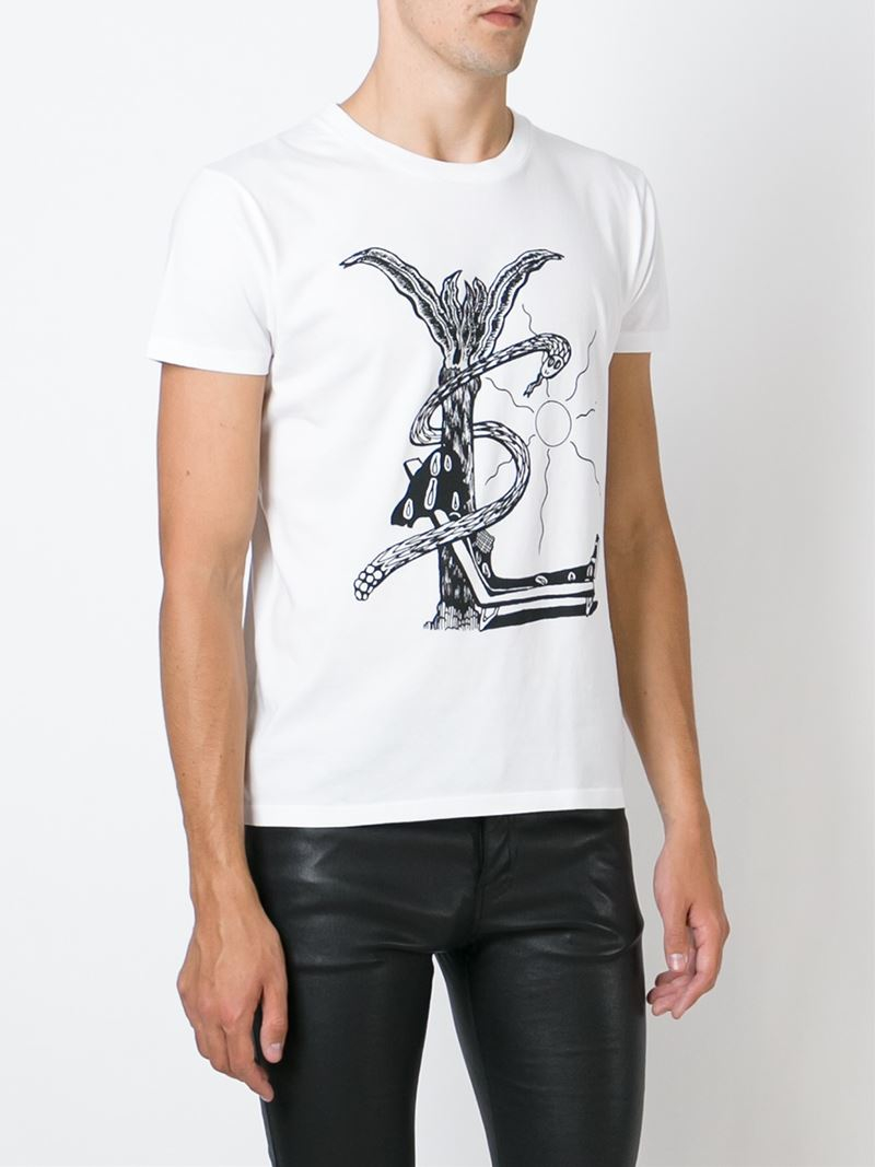 lyst saint laurent abstract logo print t shirt in white. Black Bedroom Furniture Sets. Home Design Ideas