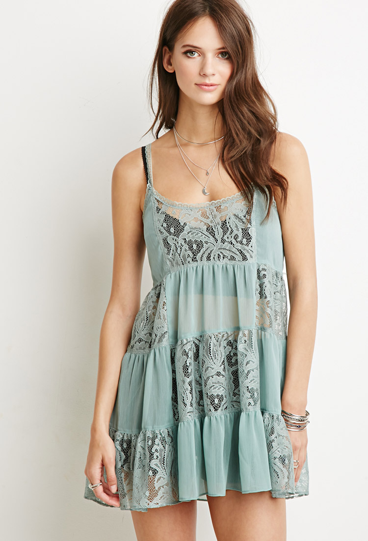 Forever 21 Lacy Crepe Tiered Dress in Green | Lyst