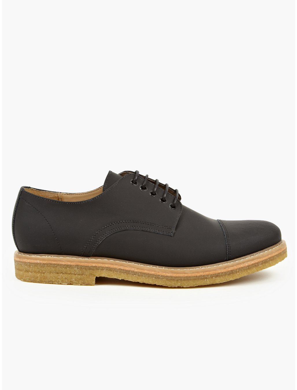 carven mens black coated leather derby shoes in black for