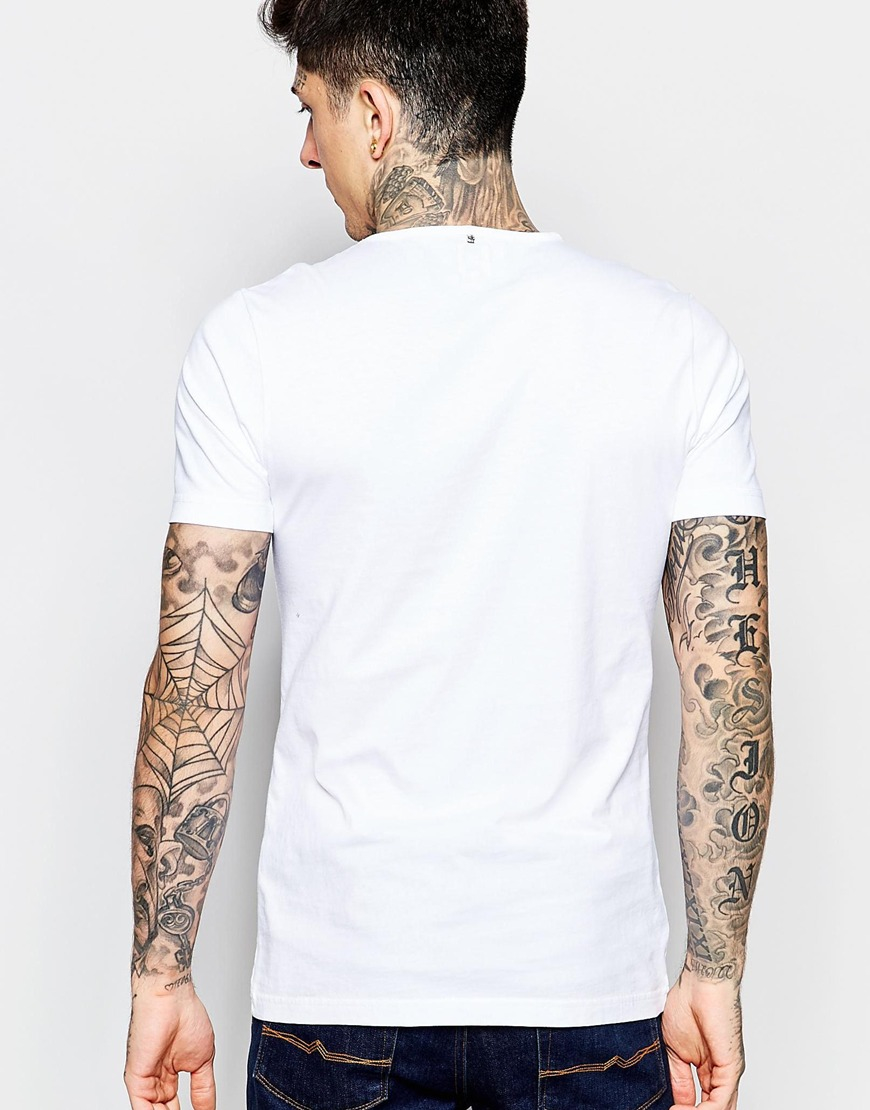 Pretty Green T Shirt With Paisley Logo Print In White For