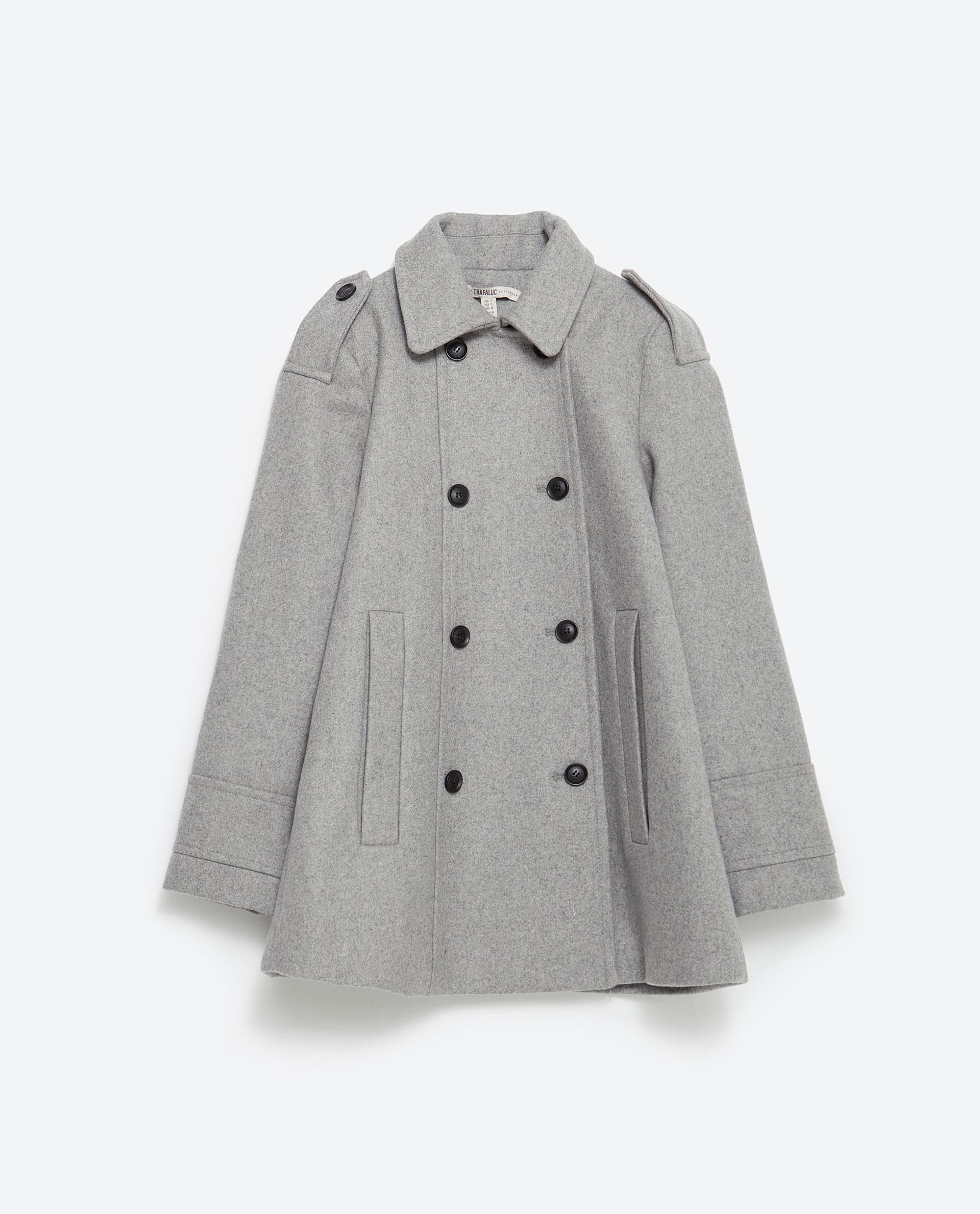 Zara Cape Coat In Gray Grey Lyst