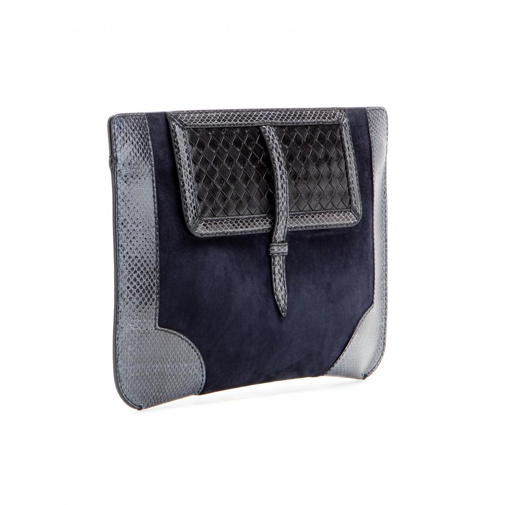 lyst bottega veneta suede snakeskin and leather clutch in blue. Black Bedroom Furniture Sets. Home Design Ideas