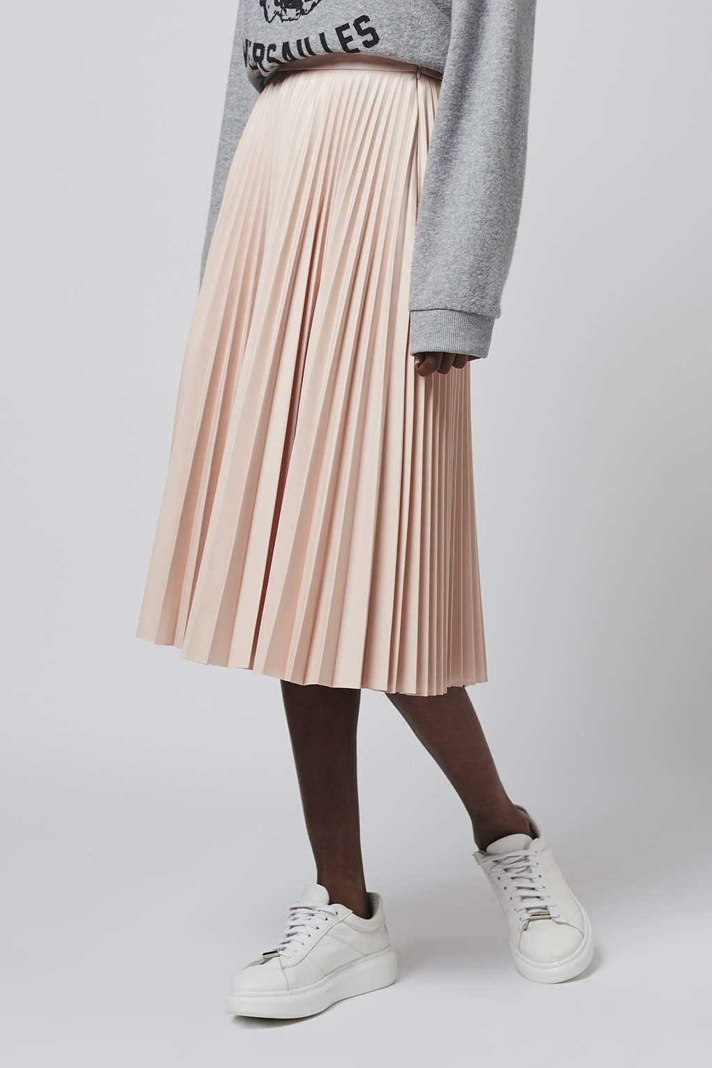 pale pink pleated midi skirt dress ala