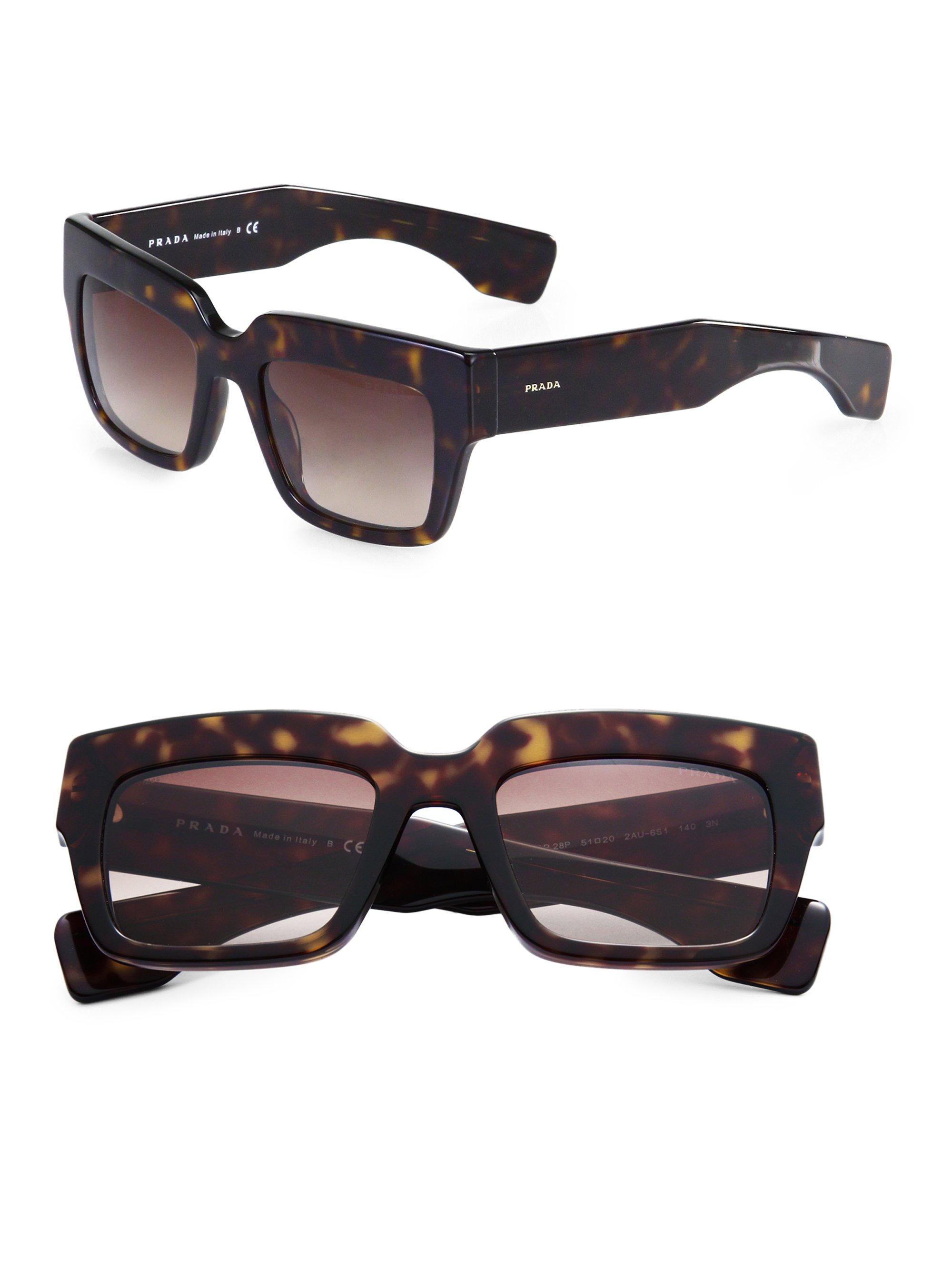 c62f9c7a0e503 Prada Poeme Tortoise-Print Square Sunglasses in Brown - Lyst