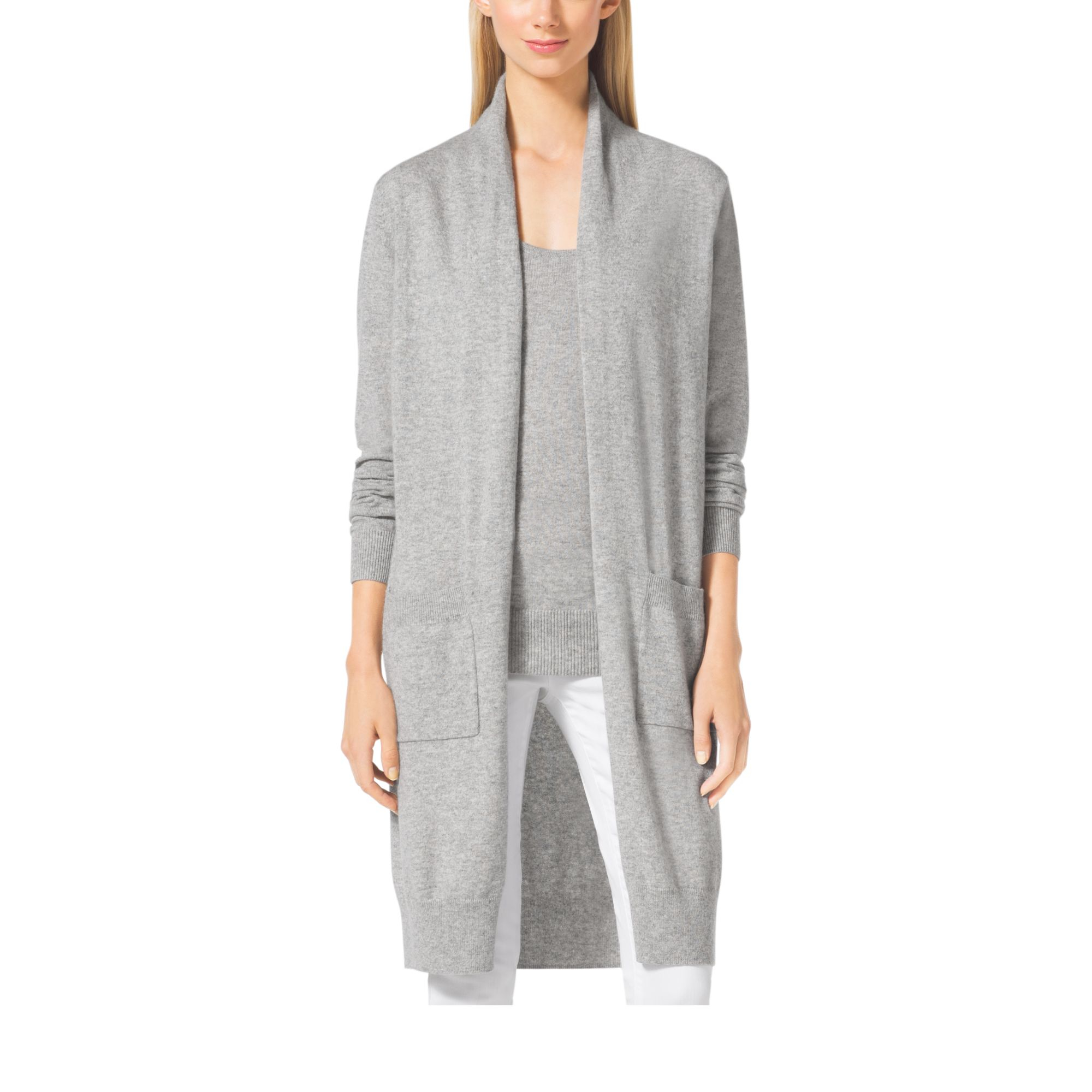 Michael kors Merino Wool And Cashmere Cardigan in Gray | Lyst