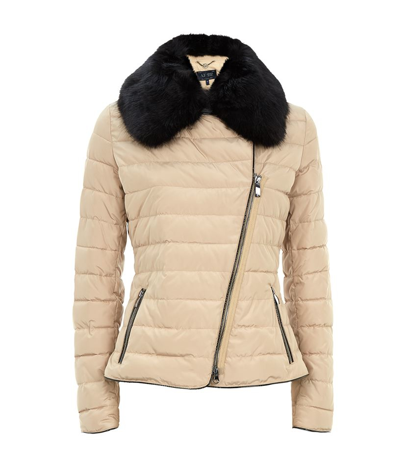 1fb698ebd5 Armani Jeans Natural Faux Fur Collar Puffer Jacket