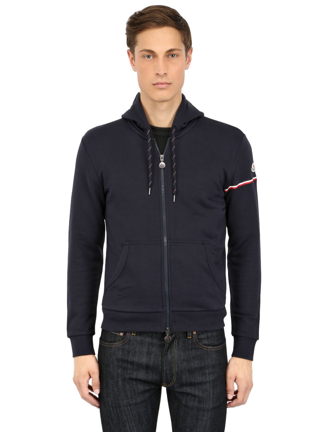 9bf8cf9b1c54 Lyst - Moncler Cotton Fleece Hooded Sweater in Blue for Men