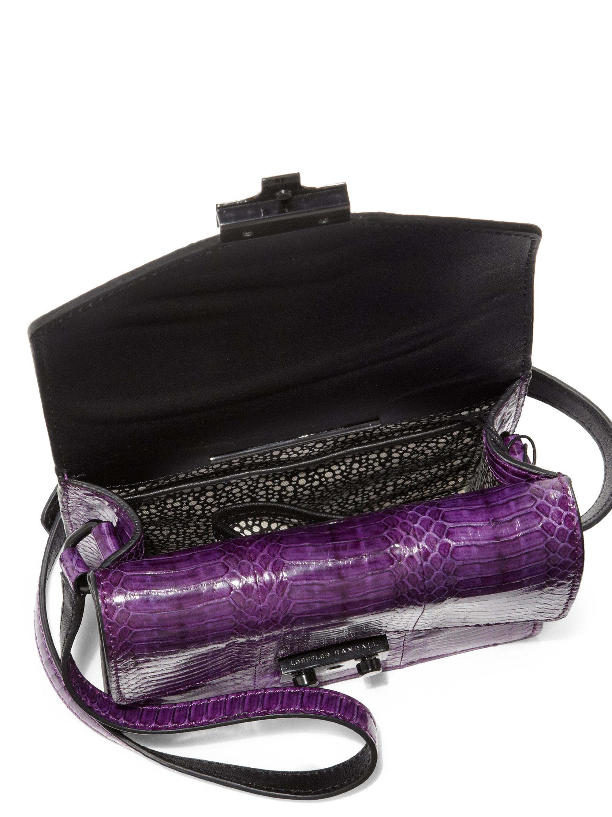 Loeffler Randall Mini Agenda Snakeskin Crossbody Bag In