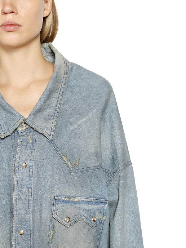 3ee881a473 Lyst - Faith Connexion Distressed   Washed Cotton Denim Shirt in Blue