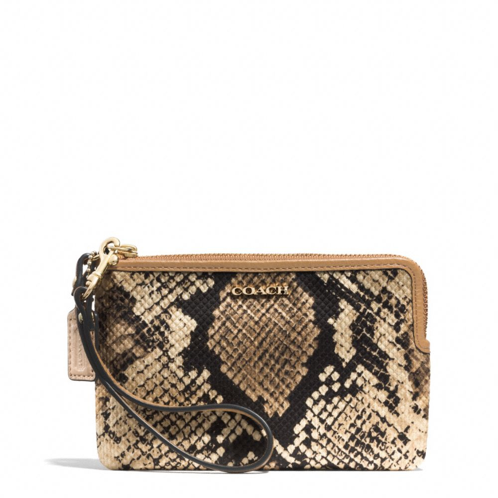 COACH Brown Madison Lzip Small Wristlet In Python Printed Fabric