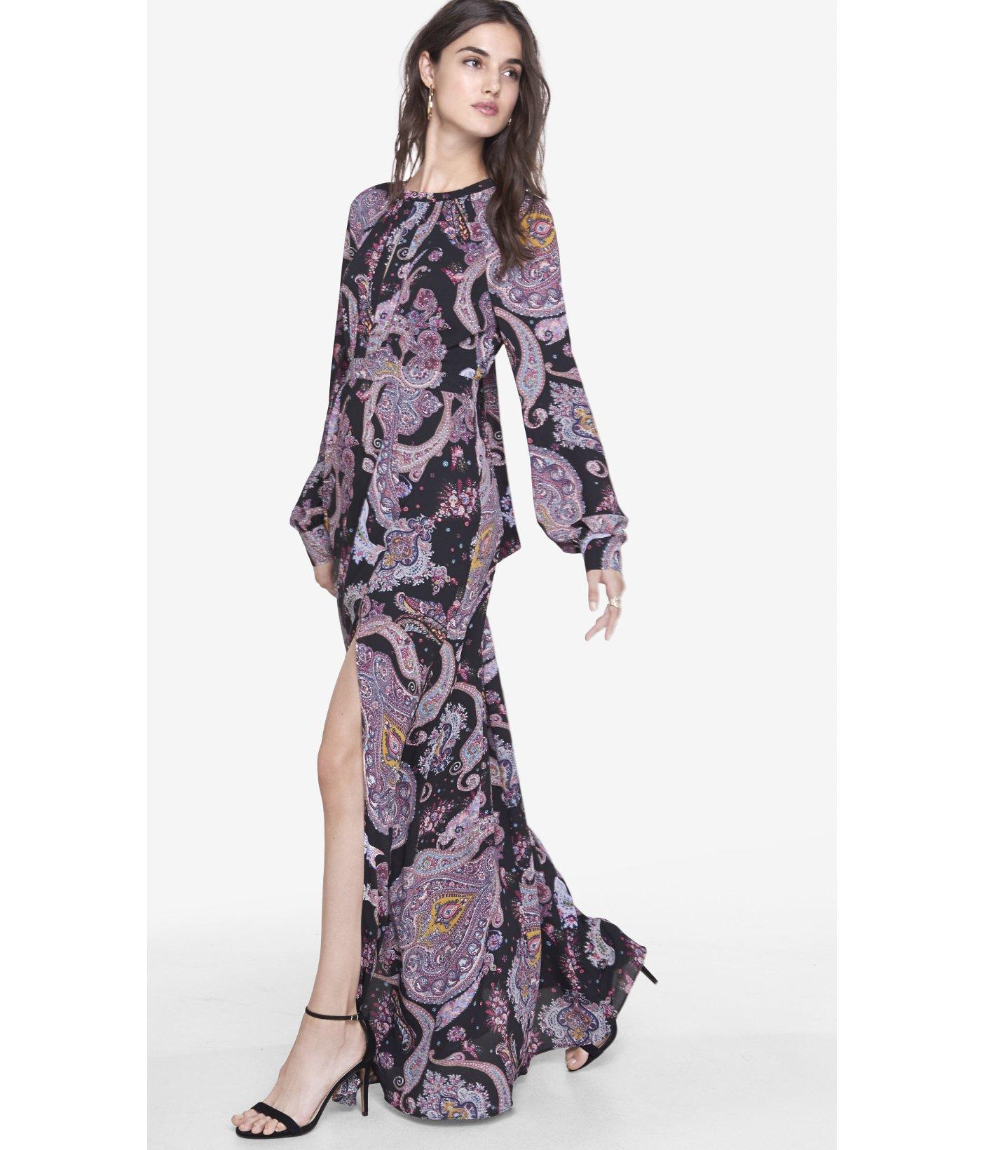 Express Paisley Poet Sleeve Maxi Dress in Black - Lyst