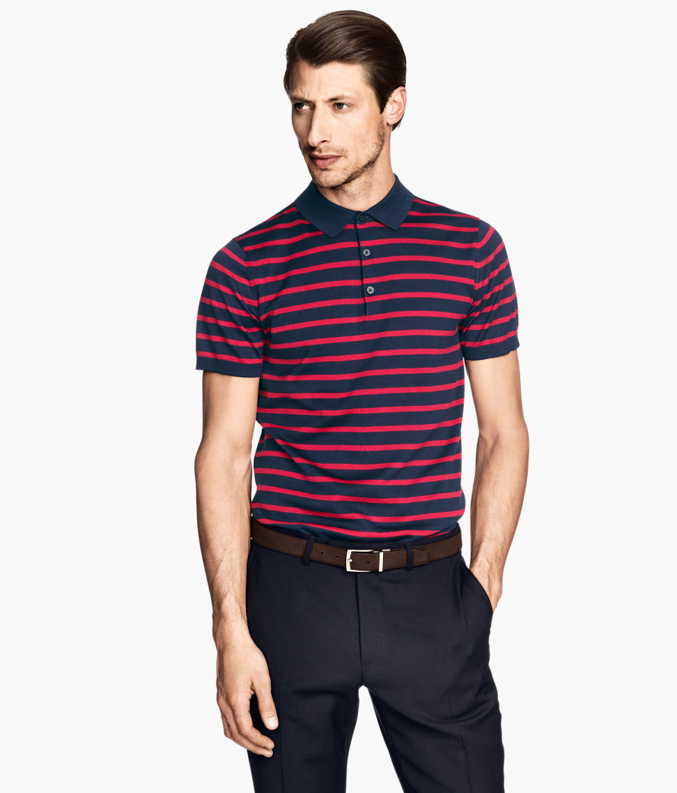 H m polo shirt in a silk blend in red for men lyst for H m polo shirt mens