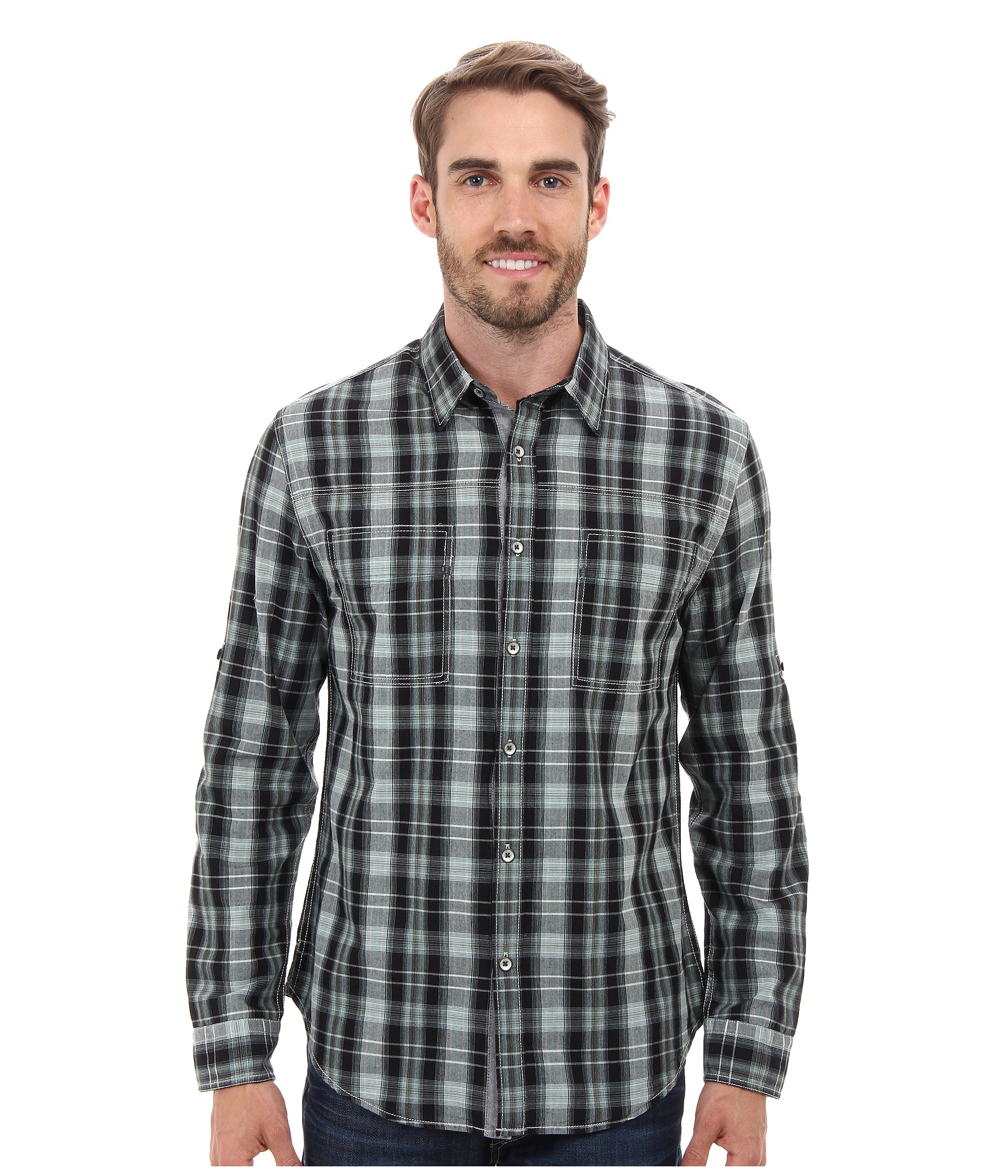 Lyst dkny long sleeve roll tab roadmap plaid shirt in for Men s roll tab sleeve shirts