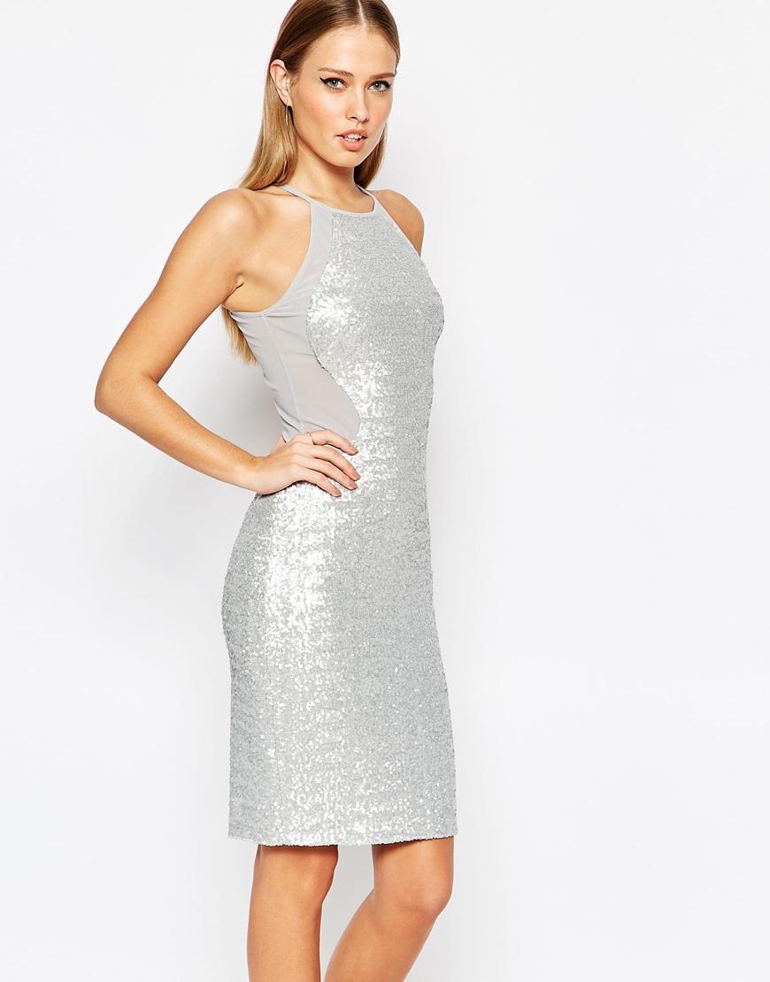 1825cbb6 TFNC London High Neck Mesh Panel Sequin Midi Dress in Metallic - Lyst