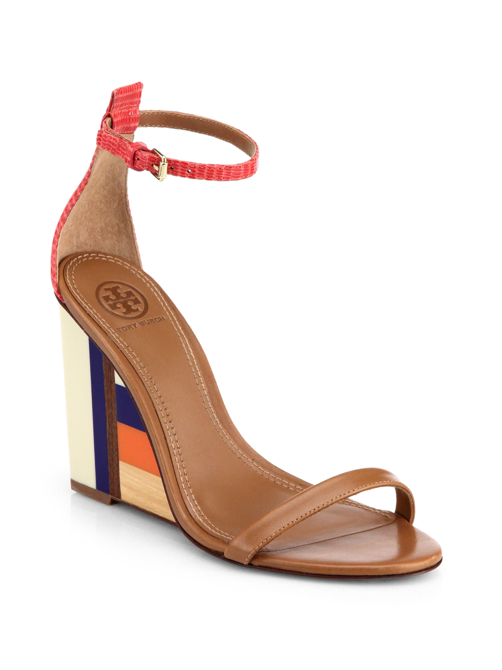 6359f3f4e1ad Lyst - Tory Burch Colorblock Wooden-Wedge Leather Sandals