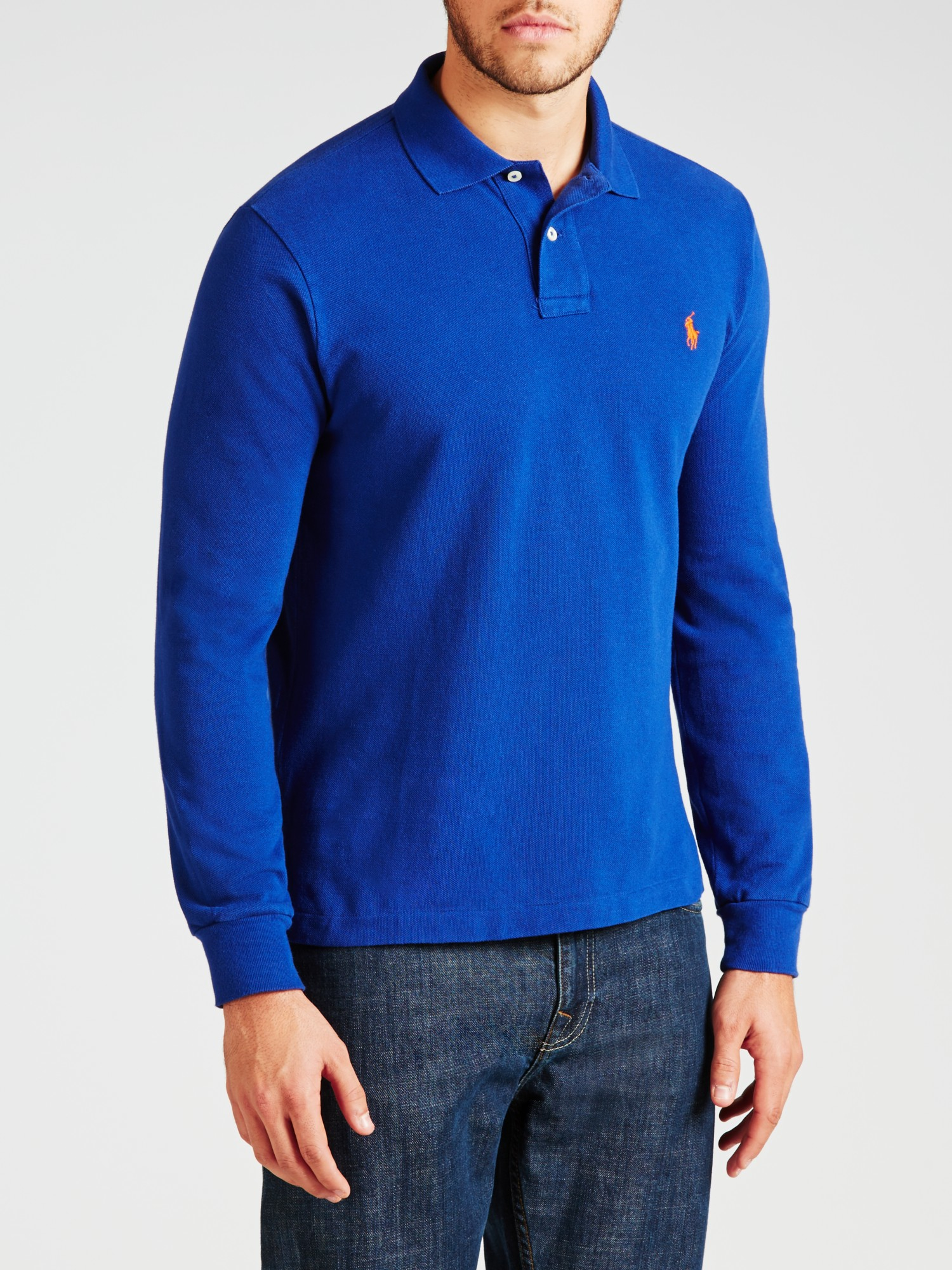 Polo Ralph Lauren Custom Fit Long Sleeve Polo Shirt In Grey Summer