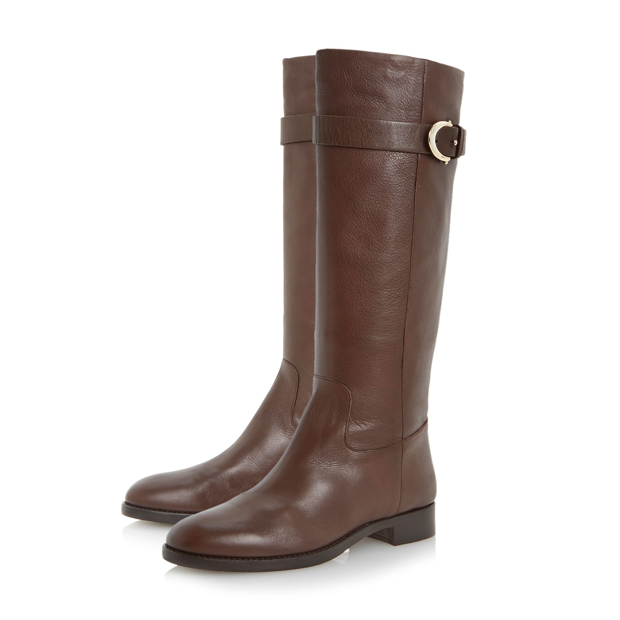 Dune Black Leather Tessie Knee High Buckle Detail Boots in Brown