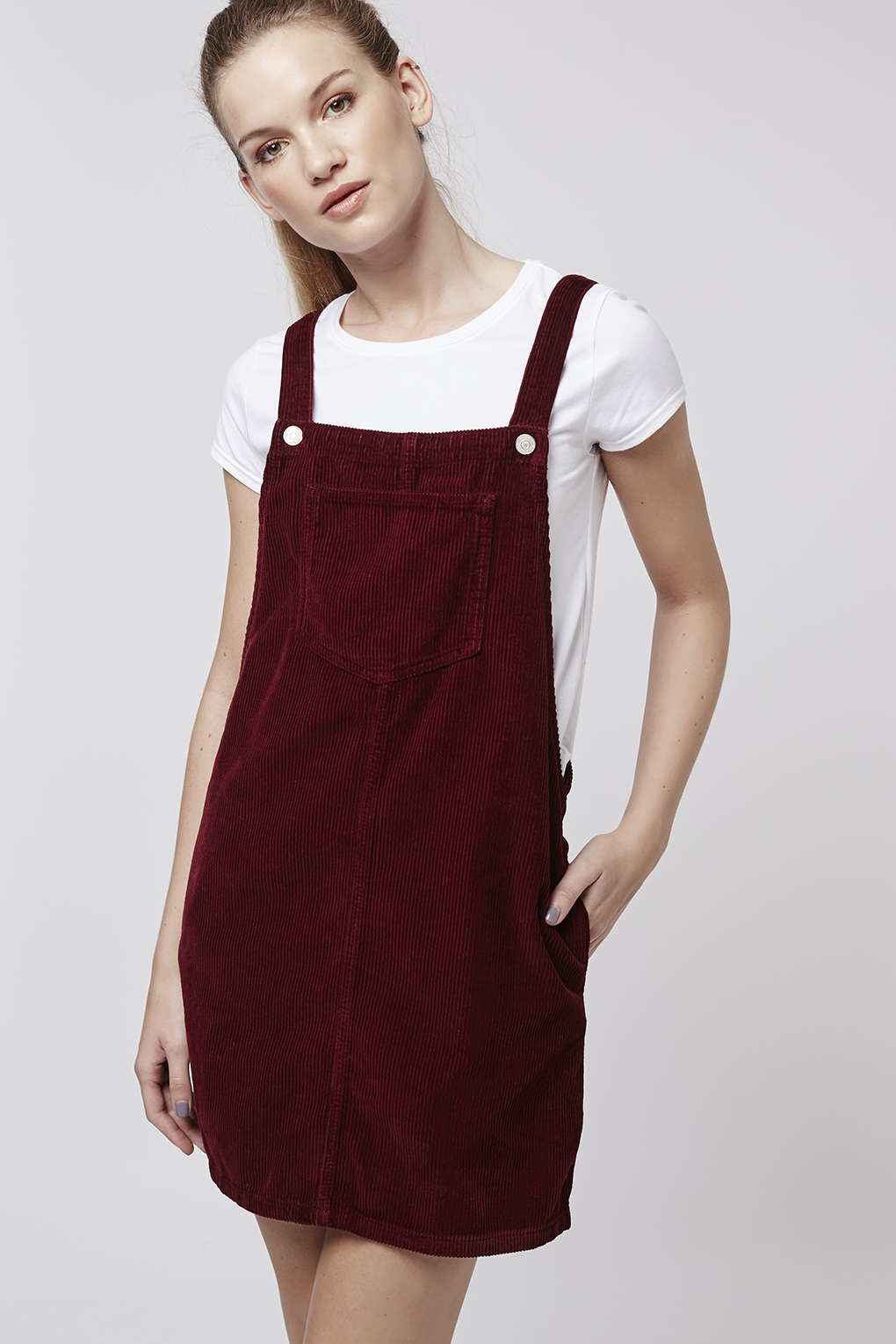 Topshop Tall Moto Cord Pinafore Dress In Purple Lyst