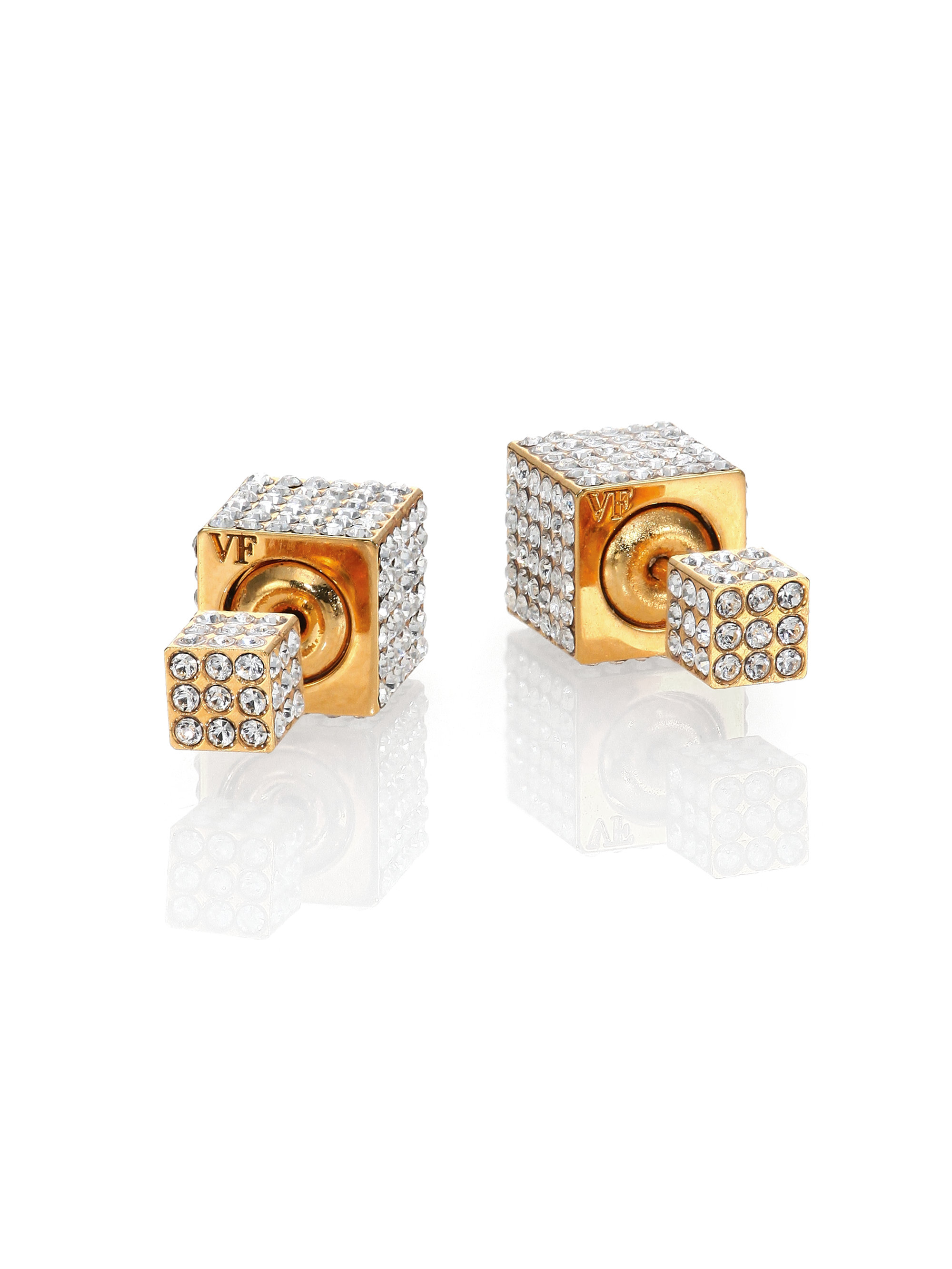 Vita Fede Double Cubo Crystal Double Sided Studded