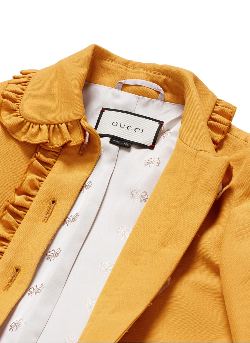 Gucci Ruffle Trim Silk Wool Cady Jacket In Yellow Lyst
