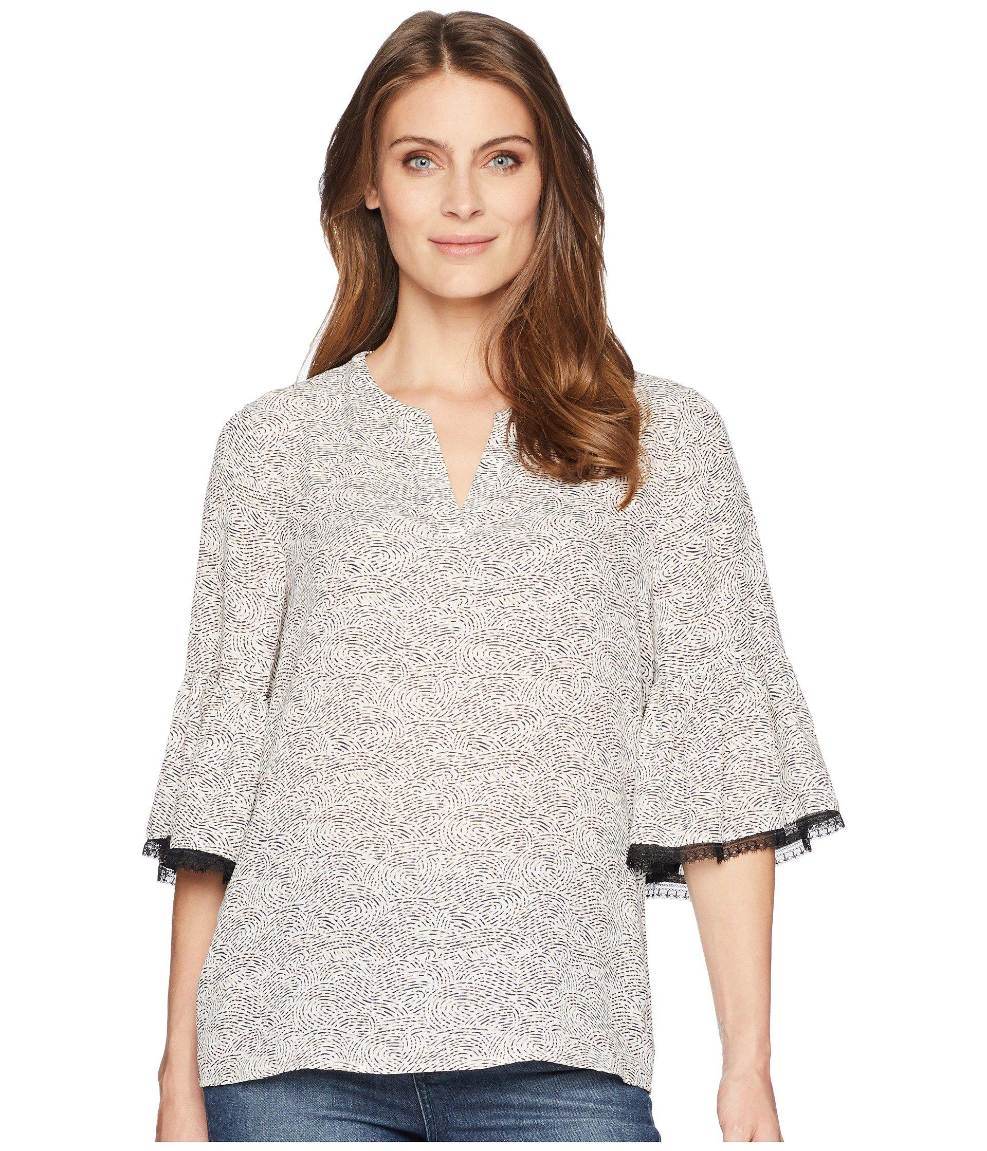 660c3f70df2ea Lyst - Ivanka Trump Flared Sleeve Printed Blouse With Open Hem in White
