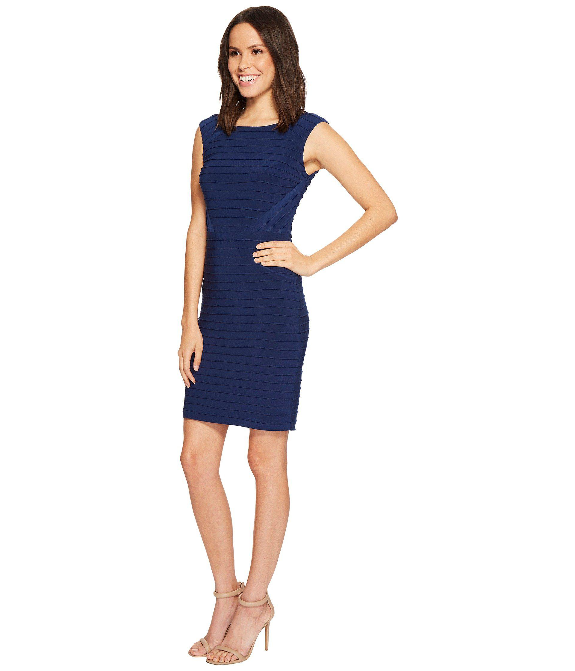 dfc7f70b5fd Lyst - Adrianna Papell Matte Jersey Banded Dress With Lace Yoke And Sleeves  in Blue - Save 49%