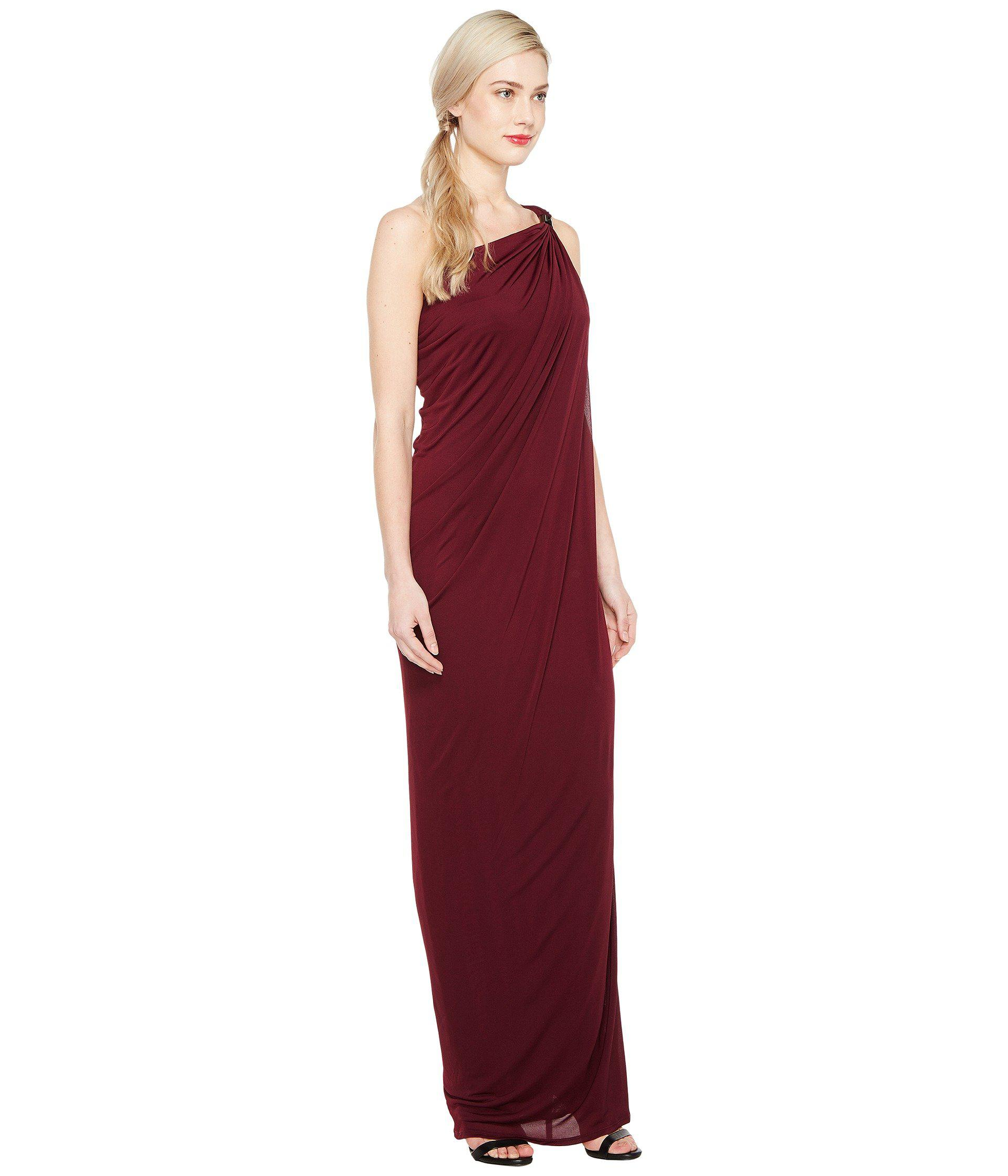 37b73ef5e6a Lyst - Halston One Shoulder Draped Jersey Gown W/ Slit in Red